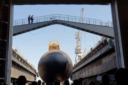 slipway: St. Petersburg, Russia - May 31, 2016: Ceremony of launching the submarine Kolpino in the Admiralty Shipyard. The submarine will be included in the Black Sea Fleet