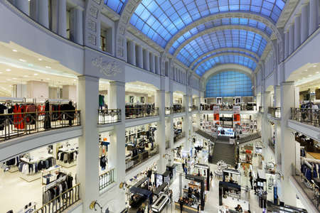 St. Petersburg, Russia - May 20, 2016: Interior of the department store DLT during Summer. Style. Festival. Healthy lifestyle and sport aesthetics are the central topics of the event this year