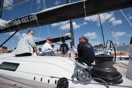 flamme: St. Petersburg, Russia - June 4, 2016: British team on the yacht Petite Flamme in the day of the opening ceremony of the Nord Stream Race. Five teams compete in the race this year Editorial