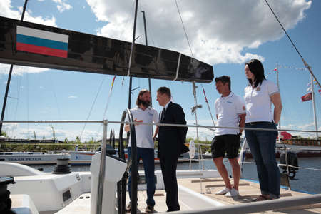the chairman: St. Petersburg, Russia - June 4, 2016: Chairman of the Management Committee of Gazprom Alexey Miller on the yacht Bronenosec participating in the Nord Stream Race. Five teams compete in the race this year