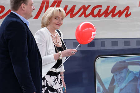 ulyanov: St. Petersburg, Russia - May 28, 2016: President of the Mikhail Ulyanovs foundation Elena Ulyanova at the double-decker train Mikhail Ulyanov in the day of its first departure from St. Petersburg to Adler Editorial