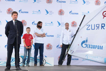 the chairman: St. Petersburg, Russia - June 4, 2016: Chairman of the Management Committee of Gazprom Alexey Miller (left) during the award ceremony of the children competition Optimists Of Northern Capital