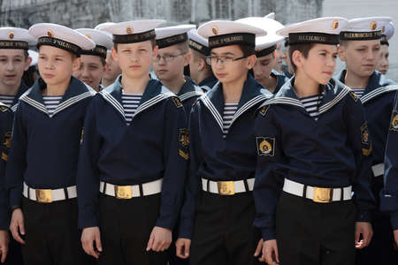 nord: St. Petersburg, Russia - June 4, 2016: Cadets of Nakhimov college in the opening ceremony of Nord Stream Race. Five teams compete in the race this year