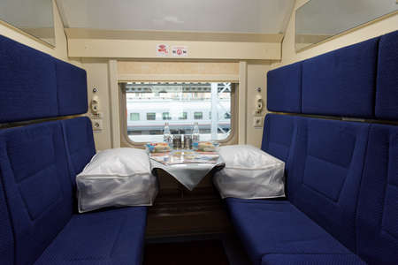 ulyanov: St. Petersburg, Russia - May 28, 2016: Interior of the double-decker train Mikhail Ulyanov in the day of its first departure from St. Petersburg to Adler. The train is operated by Russian Railways
