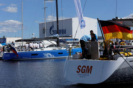nord: St. Petersburg, Russia - June 4, 2016: German team prepare the yacht SGM to the Nord Stream Race. Five teams on the Swan 60 yachts compete in the race this year Editorial