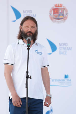 nord: St. Petersburg, Russia - June 4, 2016: Commodore of St. Petersburg yacht club Vladimir Lyubomirov during the opening ceremony of the Nord Stream Race. Five teams compete in the race this year Editorial