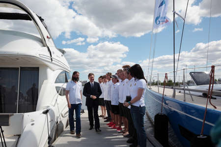 the chairman: St. Petersburg, Russia - June 4, 2016: Chairman of the Management Committee of Gazprom Alexey Miller  meet Russian team participating in the Nord Stream Race. Five teams compete in the race this year