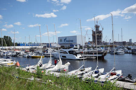 yacht club: St. Petersburg, Russia - June 4, 2016: Yachts and other boats in the yacht club Hercules in the day of the opening ceremony of the Nord Stream Race. Five teams compete in the race this year