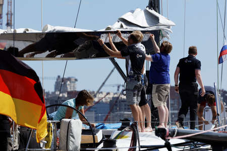 st german: St. Petersburg, Russia - June 4, 2016: German team prepare the yacht SGM to the Nord Stream Race. Five teams on the Swan 60 yachts compete in the race this year Editorial