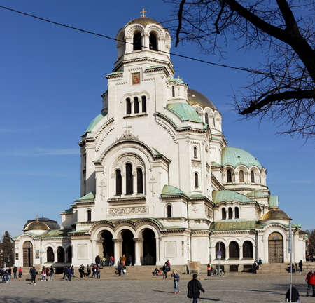 balkan peninsula: Sofia, Bulgaria - March 5, 2016: People in front of the St. Alexander Nevsky Cathedral. It was built in 1882-1912, and is the second-largest cathedral located on the Balkan Peninsula Editorial