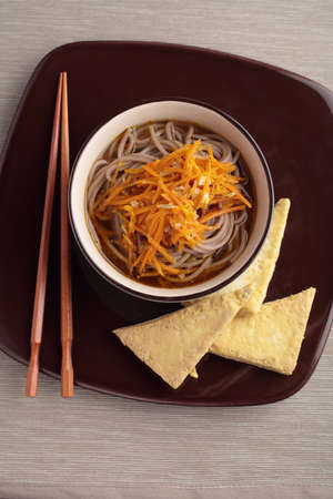 noodle soup: Japanese soba noodle soup and roasted tofu