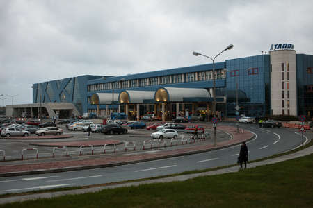 henri coanda: Bucharest, Romania - March 11, 2016: Passenger terminal of Henri Coanda International Airport. The airport was opened in 1969 on the place of military air base at Otopeni Editorial