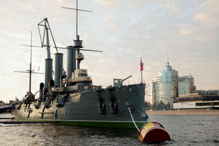 returned: St. Petersburg, Russia - July 19, 2016: Russian cruiser Aurora moored at the embankment of Nevka river. The ship has been overhauled and returned from the shipyard on July 16 Editorial
