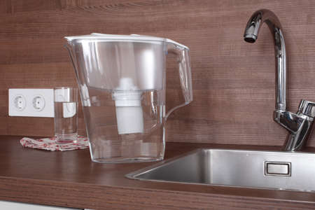 water filter: Jug water filter in a domestic kitchen