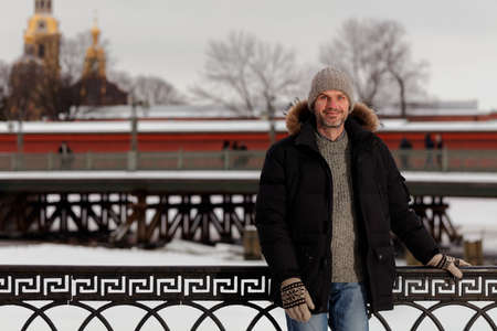 winter clothes: Mature man in winter clothes Stock Photo
