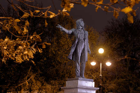 mikhail: St. Petersburg, Russia - October 29, 2015: Monument to Alexander Pushkin in an autumn night. The monument was opened in 1957 by design of Mikhail Anikushin