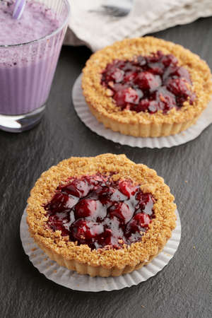 sour cherry: Sour cherry cakes and blueberry smoothies