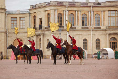 heralds: Gatchina, St. Petersburg, Russia - September 10, 2016: Heralds on the platz in front of Gatchina palace during the festival Gatchinskaya Byl. The festival is held first time this year Editorial
