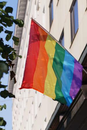 rainbow flag: Rainbow flag on a building