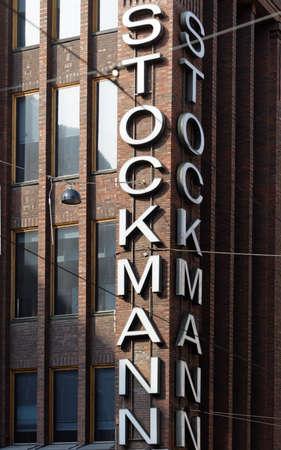 scandinavian peninsula: Helsinki, Finland - August 21, 2016: Label on the Stockmann department store in the downtown. Completed in 1926, the department store is one of the largest on Scandinavian peninsula Editorial