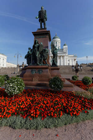 reestablishment: Helsinki, Finland - August 21, 2016: Statue of Russian Emperor Alexander II on Senate square. The statue, erected in 1894, was built to commemorate his re-establishment of the Diet of Finland in 1863