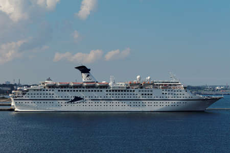 cruise liner: Tallinn, Estonia - August 20, 2016: Cruise liner Magellan of Cuises&Maritime Voyages company in the port. The Bahamian flagged ship provides luxury accommodation for 1250 passengers