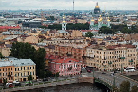 constitute: St. Petersburg, Russia - August 6, 2016: Cityscape with Fontanka river. The Historic Center of Saint Petersburg and Related Groups of Monuments constitute a UNESCO World Heritage Site