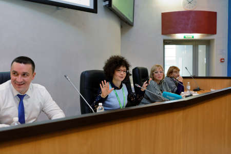 alexandra: St. Petersburg, Russia - November 16, 2016: Vice-president HR, PR, corporate marketing of the biotechnology company BIOCAD Alexandra Glazkova (center) during press conference. BIOCAD is one of the world`s few full-cycle drug development and manufacturing