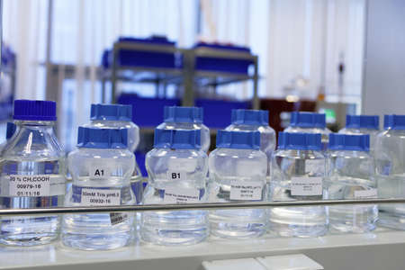 St. Petersburg, Russia - November 16, 2016: Flasks with liquids in the High-Throughput Biotechnology Laboratory of BIOCAD. It is one of the world`s few full-cycle drug development and manufacturing companies