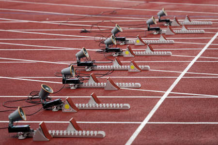 Zhukovsky, Moscow region, Russia - June 27, 2014: Starting blocks for competitions in sprint during Znamensky Memorial. The competitions is one of the European Athletics Outdoor Classic Meetings