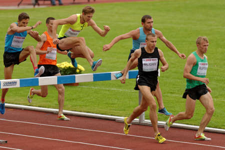 Zhukovsky, Moscow region, Russia - June 27, 2014: Athletes in men 3000 meters steeplechase during Znamensky Memorial. The competitions is one of the European Athletics Outdoor Classic Meetings Editorial