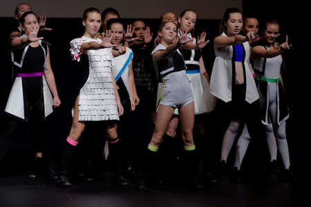 choreographic: St. Petersburg, Russia - October 28, 2016: Show ballet Ice Cream performing in the International festival-contest of vocal and choreographic art Autumn Transformation. More than 500 children from Russia, Belarus, and Kazakhstan take part in the contest