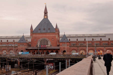 Copenhagen, Denmark - January 2, 2012: People in front of the central train station. The current station building opened in 1911 and is the work of architect Heinrich Wenck