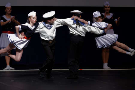 choreographic: St. Petersburg, Russia - October 28, 2016: Dancing group Surprise performing in the International festival-contest of vocal and choreographic art Autumn Transformation. More than 500 children from Russia, Belarus, and Kazakhstan take part in the contest Editorial