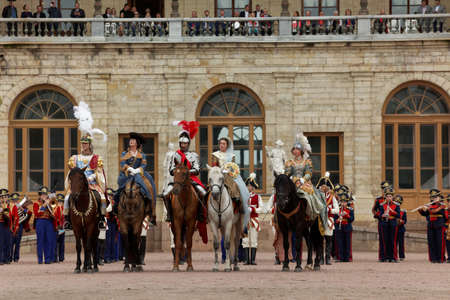 nobles: Gatchina, St. Petersburg, Russia - September 10, 2016: Actors in images of Emperor Nicholas I and other nobles in front of Gatchina palace during the festival Gatchinskaya Byl. The festival is held first time this year