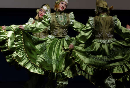 choreographic: St. Petersburg, Russia - October 28, 2016: Dancing group Fantasy performing in the International festival-contest of vocal and choreographic art Autumn Transformation. More than 500 children from Russia, Belarus, and Kazakhstan take part in the contest Editorial