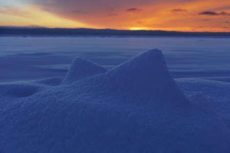 Winter sunset on the Gulf of Finland, Baltic sea Stock Photo