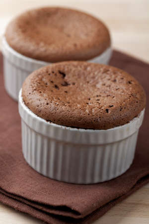 Just baked chocolate puddings in ramekins