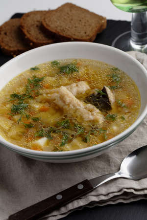 burbot: Burbot fish soup with vegetables and dill