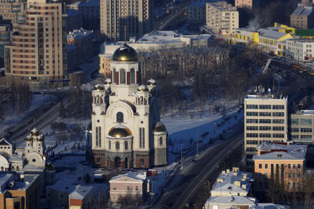 Yekaterinburg, Russia - January 2, 2015: Aerial view to the Church on Blood in Honour of All Saints Resplendent in the Russian Land. The church built on the site where Nicholas II and several members of his family were shot by the Bolsheviks during the Ru
