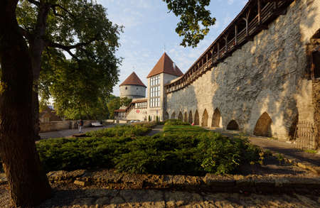 Tallinn, Estonia - August 20, 2016: People resting in Danish Kings Garden. A tiny plot of land right at the foot of the city wall has always remained undeveloped and belonged mostly to the city Editorial