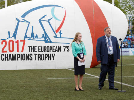antitrust: St. Petersburg, Russia - May 27, 2017: Head of Federal Antimonopoly Service Igor Artemiev during the opening ceremony of Rugby Europe Sevens Club Champions Trophy. St. Petersburg hosts the trophy in 2nd time