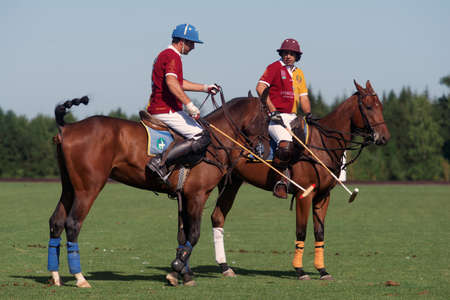 Tseleevo, Moscow region, Russia - July 26, 2014: Francisco Ramos (right) with unidentified teammate of Tseleevo Polo club during the break in the match against the Oxbridge polo team during the British Polo Day. Oxbridge won 5-4 Editorial
