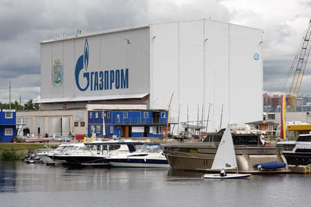St. Petersburg, Russia - July 5, 2017: Yachts and other boats in the yacht club Hercules in the day of regatta Optimists Of Northern Capital. This series started in 2012 and sponsored by Gazprom Editorial