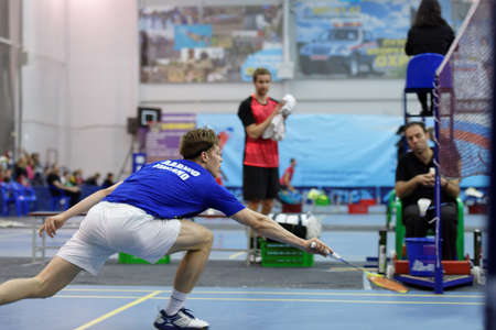 St. Petersburg, Russia - July 7, 2017: Henri Aarnio of Finland (pictured) vs Raul Must of Estonia in badminton tournament White Nights. Must won 2:0