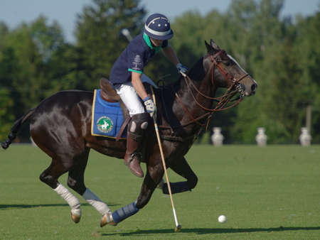 Tseleevo, Moscow region, Russia - July 26, 2014: Sam Browne of Oxbridge Polo Team in action during the match against the Tseleevo Polo Club during the British Polo Day. Oxbridge won 5-4 Editorial
