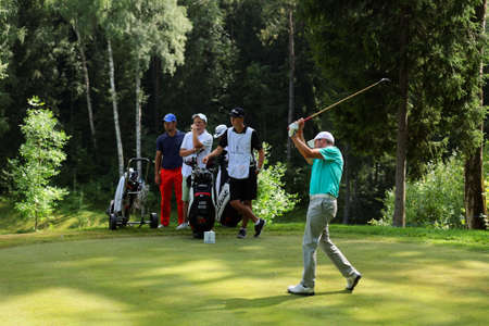 Tseleevo, Moscow region, Russia - July 24, 2014: Liam Bond of Wales in action in the Tseleevo Golf & Polo Club during the M2M Russian Open. This international golf tournament is the stage of the European Tour