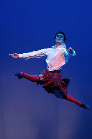 St. Petersburg, Russia - November 16, 2017: Ballet soloist of Mariinsky theater Timur Askerov performs during gala concert of Oleg Vinogradov. Great choreographer celebrated his 80th anniversary