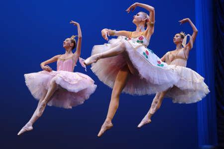 St. Petersburg, Russia - November 16, 2017: Students of Vaganova Ballet Academy perform during anniversary gala concert of Oleg Vinogradov. Great choreographer celebrated his 80th anniversary