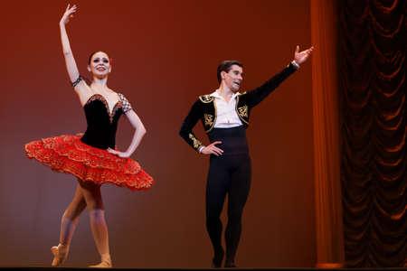 St. Petersburg, Russia - November 16, 2017: Kremlin Ballet dancers Ekaterina Pervushina (right) and Mikhail Martynyuk after performance during gala concert of Oleg Vinogradov. Great choreographer celebrated his 80th anniversary